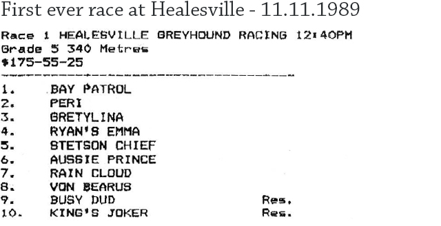 First ever race at Healesville
